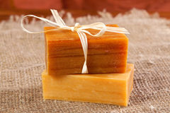 Natural flavored handmade soaps Stock Photos