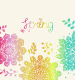 Natural floral background with Spring lettering Stock Image