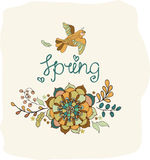 Natural floral background with Spring lettering Stock Images