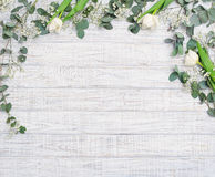Natural floral frame with eucalyptus branches Royalty Free Stock Photos