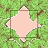 Natural floral frame with ginkgo biloba leaves, pink copy space, hand drawn plants. Vector stock illustration