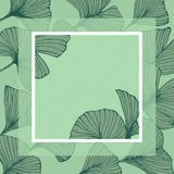 Natural floral frame with ginkgo biloba leaves, square outline hand drawn copy space. Vector royalty free illustration