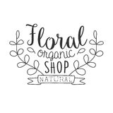 Natural Floral Organic Shop Black And White Promo Sign Design Template With Calligraphic Text Stock Images