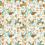 Natural floral Seamless background with birds Royalty Free Stock Image