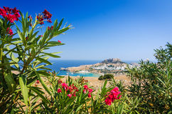 Natural flower frame with Lindos village Stock Images