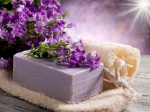 Natural flower soap with scrub Stock Image