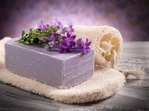 Natural flower soap with scrub Royalty Free Stock Photos