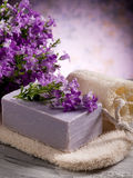 Natural flower soap with scrub Stock Images