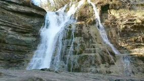 Natural Flowing Waterfall. A natural Flowing high Waterfall, this being located in Tuscany Italy stock video