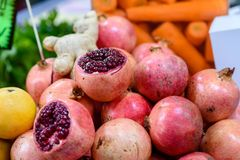 Pile pomegranate in the market. royalty free stock images