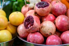 Pile pomegranate in the market. stock photos
