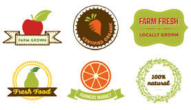 Natural Food badges. Set of 6 badges and labels for web and printed materials. They read Farm grown, Certified organic, Farm fresh - locally grown, Fresh Food Royalty Free Stock Photos