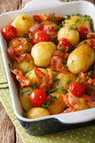 Natural Food: Baked new potatoes with bacon, green onions and to Royalty Free Stock Photography