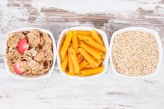 Natural food containing carbohydrates, minerals and dietary fiber, healthy nutrition concept Royalty Free Stock Photography