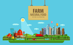 Natural food. Farm and city. Vector illustration Stock Photos