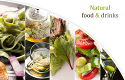 Natural food (in green colors). Collage of photos of natural food (in green colors Royalty Free Stock Photos