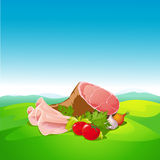 Natural food - ham and vegetable Stock Image