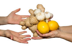 Natural food. Handing some garlic,ginger and lemons Royalty Free Stock Photography