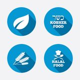 Natural food icons. Halal and Kosher signs Royalty Free Stock Photo