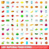 100 natural food icons set, cartoon style Royalty Free Stock Images