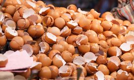 Free Natural Food Ingredient, Broken Brown Chicken Egg Shells In Front Of Bakery Shop In Food Market Stall. Nutrition, Poultry Egg, Stock Image - 140411421