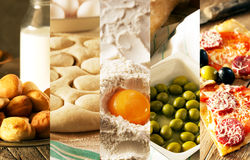 Natural food. Photo collage. Rustic style and background Stock Image