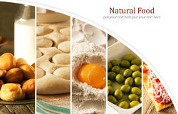 Natural food. Photo collage. Rustic style and background Royalty Free Stock Photography