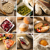 Natural food. Photo collage. Rustic style and background Royalty Free Stock Photos
