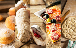 Natural food. Photo collage. Rustic style and background Stock Photo