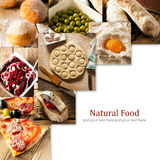 Natural food. Photo collage. Rustic style and background Royalty Free Stock Images