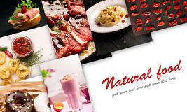 Natural food. Photo collage. Rustic style, dark and white background Stock Photos