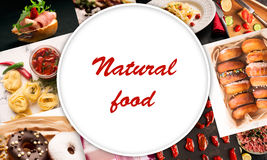 Natural food. Photo collage Stock Photos