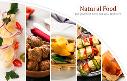 Natural food. Photo collage. Vegetables and meat Royalty Free Stock Photos