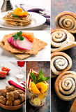 Natural food. Photo collage. Vegetables, meat and bakery Royalty Free Stock Photography