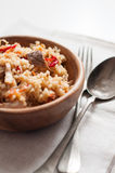 Natural food: rice with meat and vegetables Stock Photos