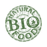 Natural food rubber stamp. Green grunge rubber stamp with the text bio natural food written inside the stamp Stock Images