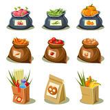 Natural Food is Very Good Organic Vegetables. In paper bag and sack concept vector illustration vector illustration