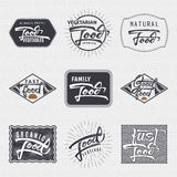 Natural foods, organic , festival, good food - labels Royalty Free Stock Images