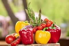 Natural foods. Red and yellow bell pepper, tomatoes, onion and asparagus stock photography