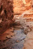 Natural foot path through geological formations sandstone mineral Ada Canyon Negev Israel Royalty Free Stock Image