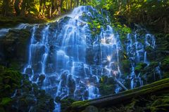 Ramona Waterfalls In Mt. Hood National Forest. This natural 120 foot water feature is located on the upper Sandy River elevation 3560 feet, in Mt. Hood National stock images