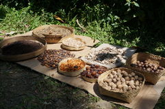 Natural forest produce. Natural produce bathed in sunlight in Bali Indonesia, in baskets Royalty Free Stock Photo