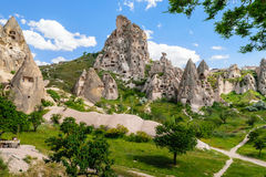 Natural fortress of Uchisar, riddled with man-made dwellings and dovecotes Royalty Free Stock Image