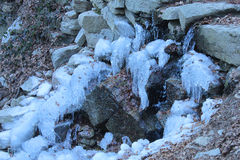 Natural fountain with iced water Royalty Free Stock Photos