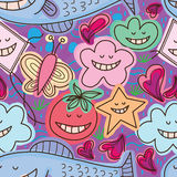 Natural free laugh seamless pattern. This illustration is abstract drawing natural fish, kite, butterfly, flower, grasses, tomato, star and love free happy or no Royalty Free Stock Photography