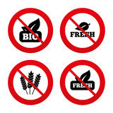 Natural fresh Bio food icons Royalty Free Stock Photography