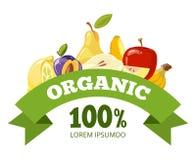 Natural fresh food, fruits logo badge vector template. Eco fresh green health food illustration Stock Photos