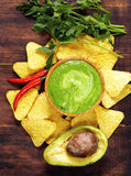 Natural fresh guacamole dip with avocado Royalty Free Stock Photos