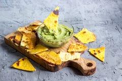 Natural fresh guacamole dip stock image