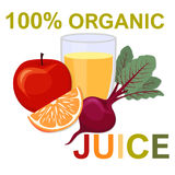 Natural fresh juice in a glass. Healthy organic food. royalty free illustration